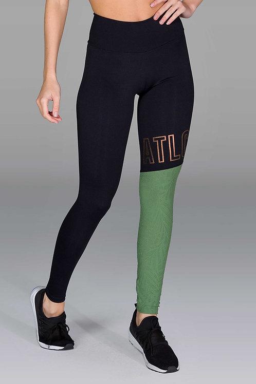 Legging d'entraînement vert et noir assorti