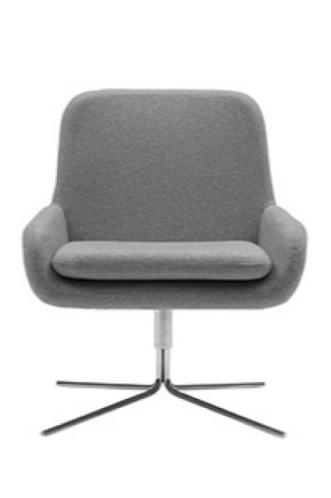 Coco lænestol m. drejefod, lysgrå / Coco swivel armchair, light grey