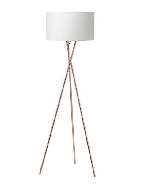 Gulvlampe, kobber m. hvid skærm / floor lamp, copper w. white lamp shade