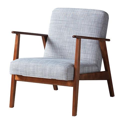 Lænestol, grå og træ / arm chair, grey and tree