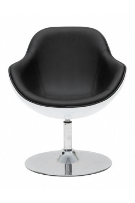 Drejestol, hvid skal m. sort læder / swivel chair, white shell w. black leather