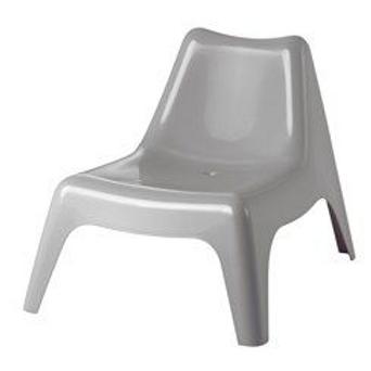 Plast loungestol, lysgrå / Plastic lounge chair, light grey