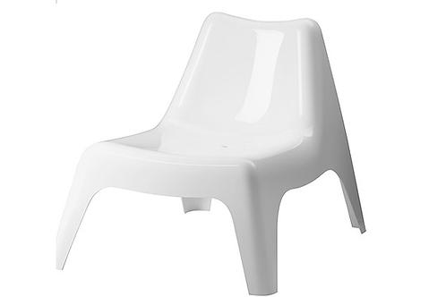 Plast loungestol, hvid / Plastic lounge chair, white