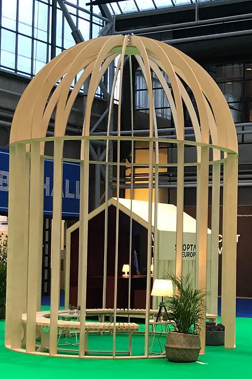 Fuglebur i birkefiner / Bird cage in birch veneer
