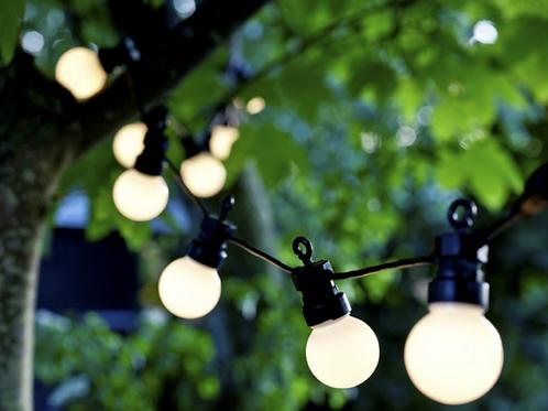 Lyskæde frosted pærer, sort ledning / string lights frosted bulbs, black wire