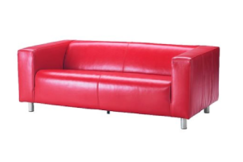 Lædersofa, rød / Leather couch, red