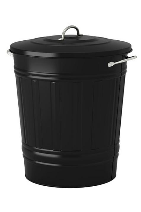 Metal skraldespand, sort / Metal bin, black
