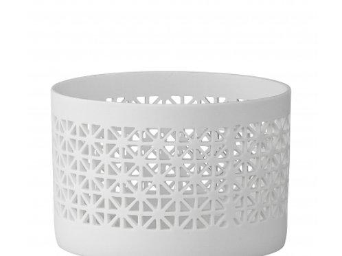 Fyrfadstage, lille, hvid porcelæn / Tealight, small, white porcelain