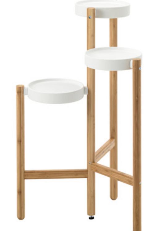 Piedestal, bambus, hvid / pedestal, bamboo, white