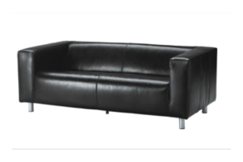 Lædersofa, sort / Leather couch, black