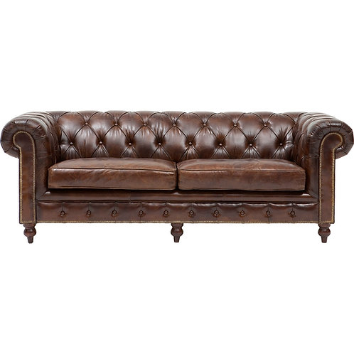 Chesterfield, brun antik læder / Chesterfield, brown antique leather