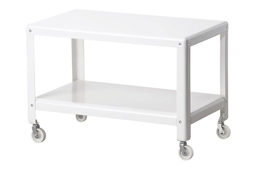 Metalbord på hjul / Metal table on wheels