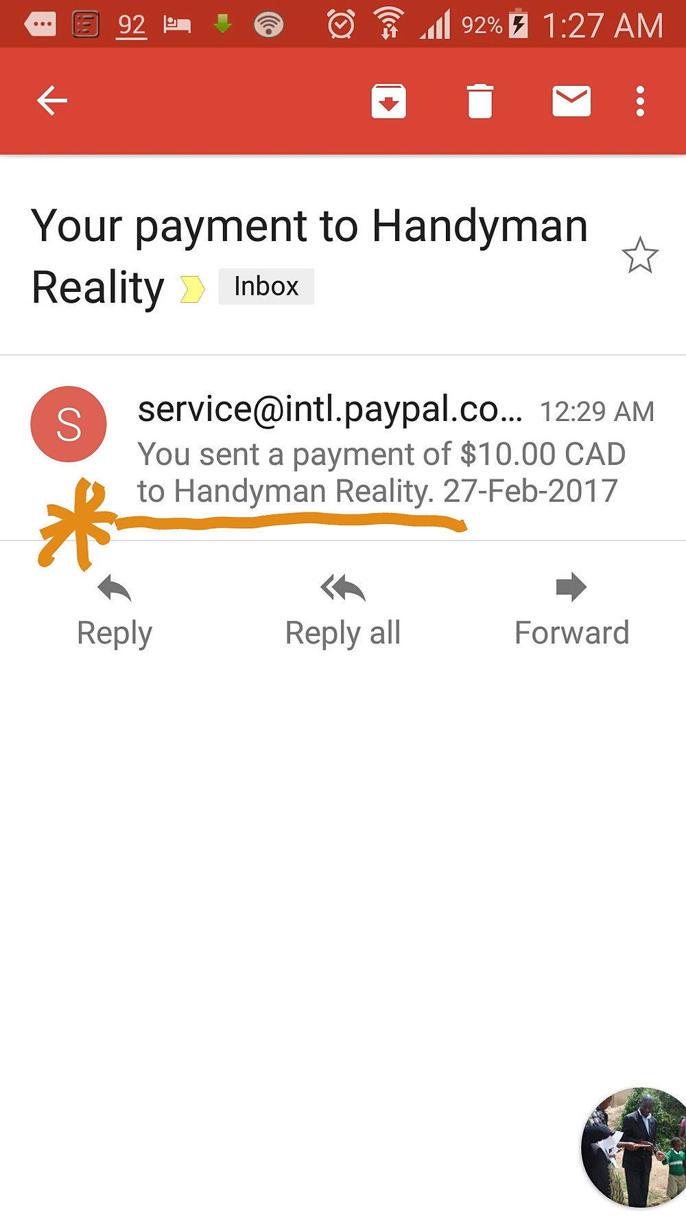 """Mobile Screen Grab """"Donation in Handyman Reality account name"""""""