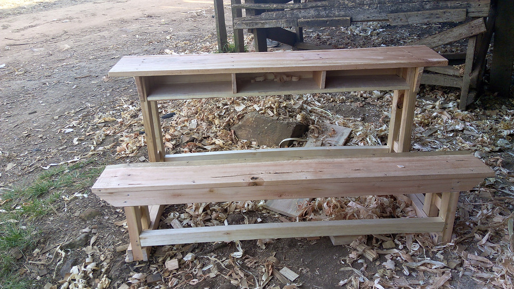 A prototype student desk/bench for primary school in Lwengo