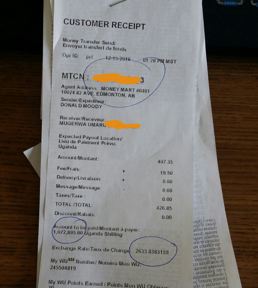 Smartphone donation receipt