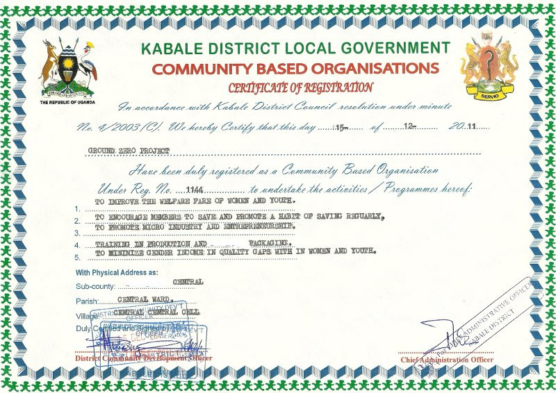 Ground Zero Project Certificate of Registration Kabale Uganda