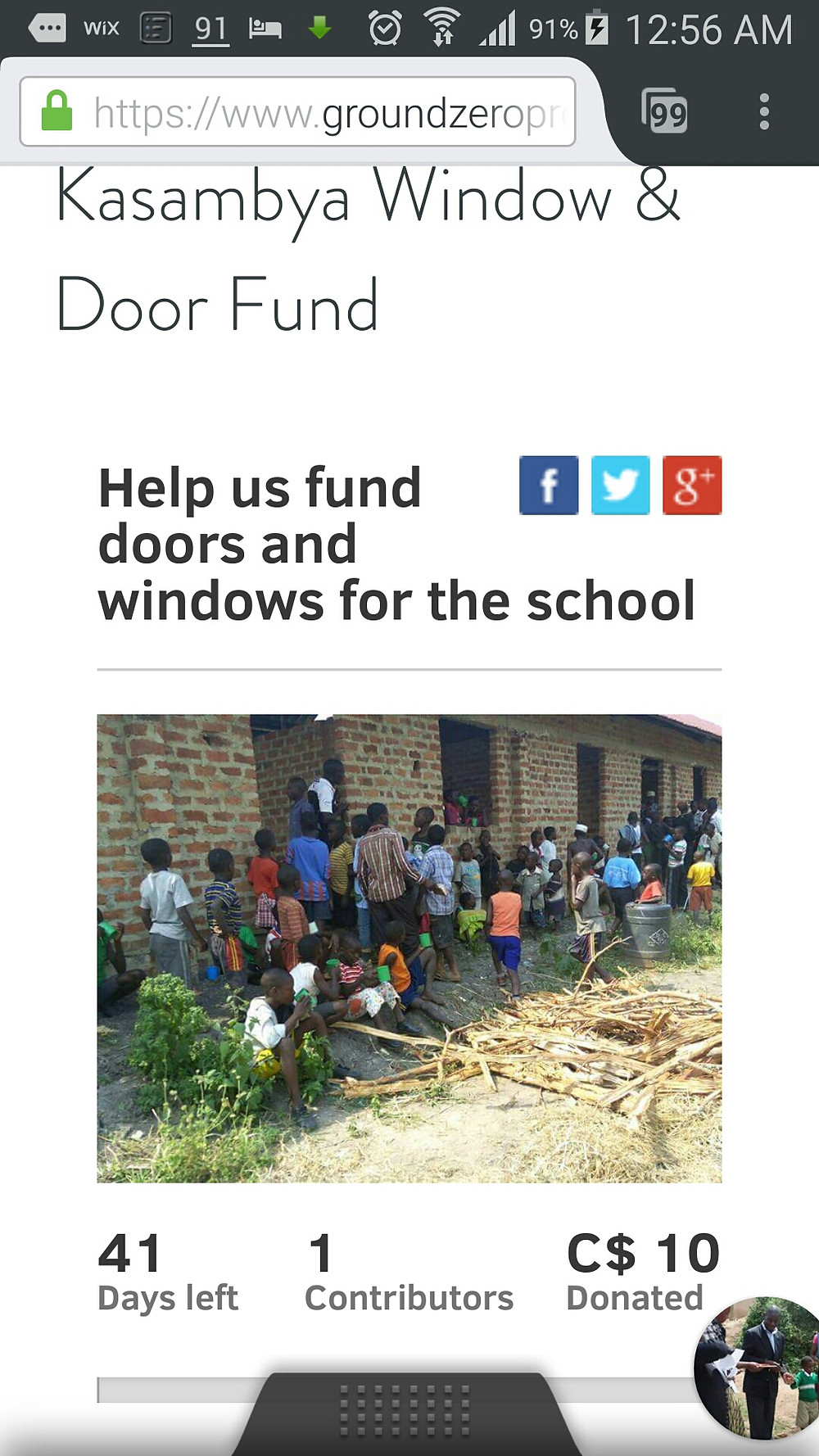 Mobile Screen Grab GZP Uganda Doors & Windows Crowd Fund Page