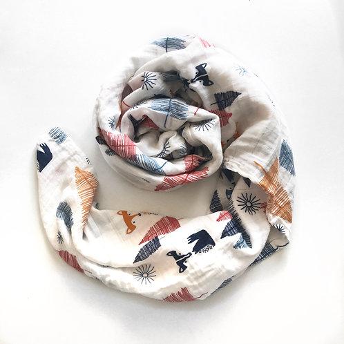 Organic Muslin Blanket - Foxes