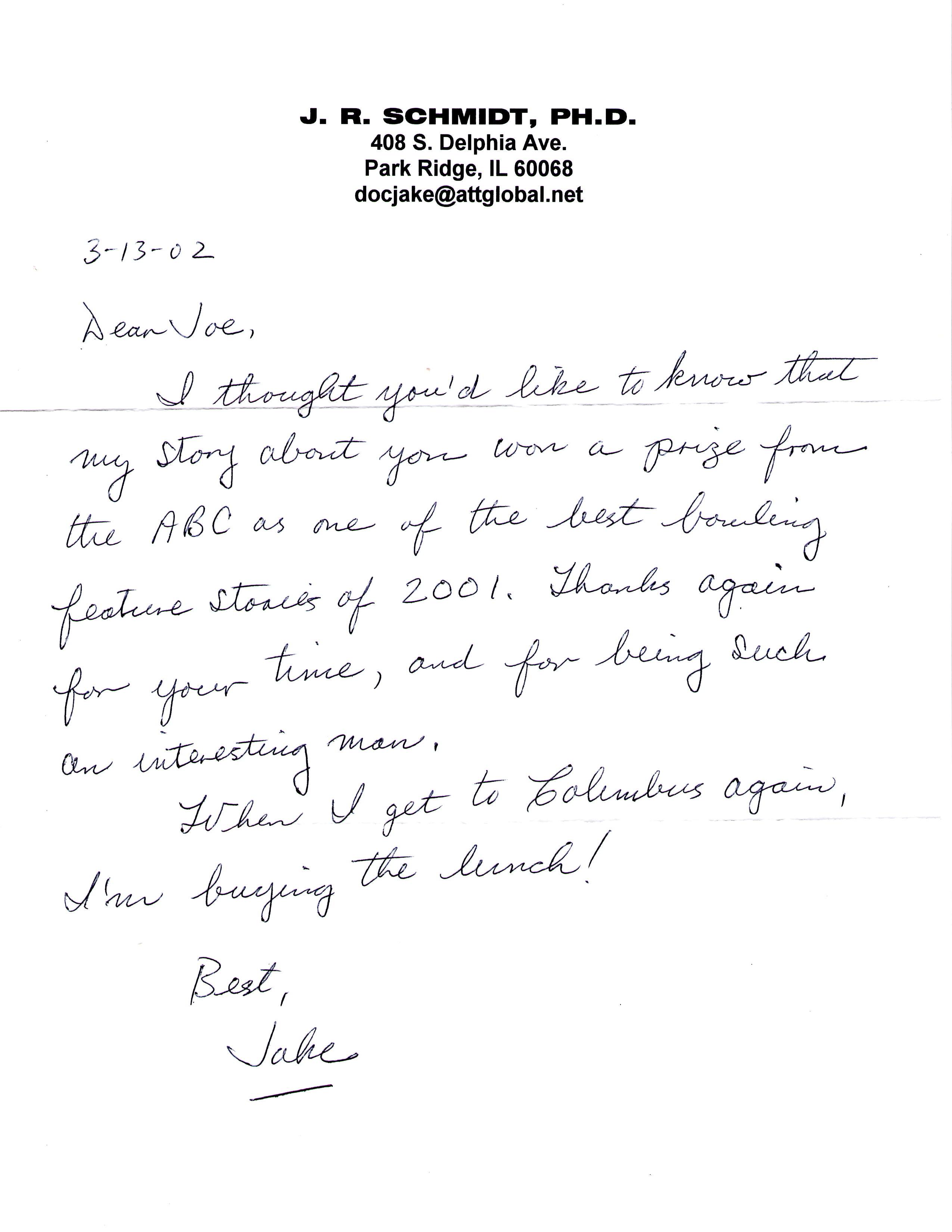 J R Schmidt letter