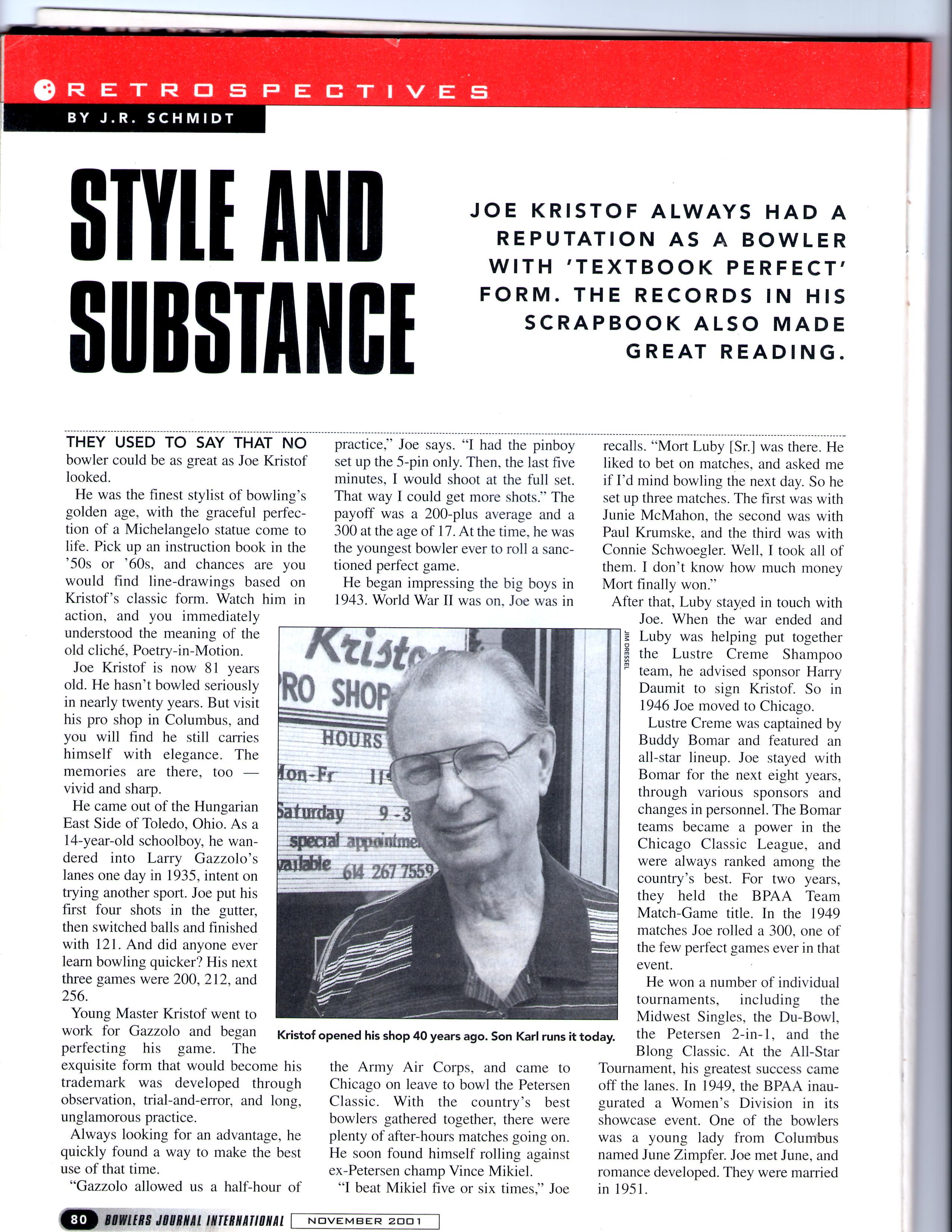 Joe Kristof Bowlers Pro Shop