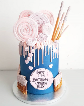Navy and Pink Drip Cake