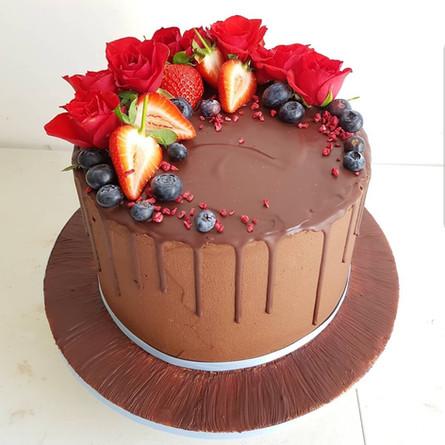 Chocolate Fruity Flower Cake
