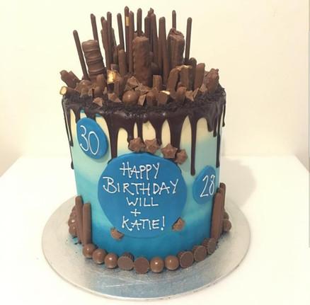 Faded Blue Drip Cake