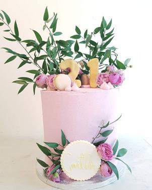 Floral 21st Birthday Cake