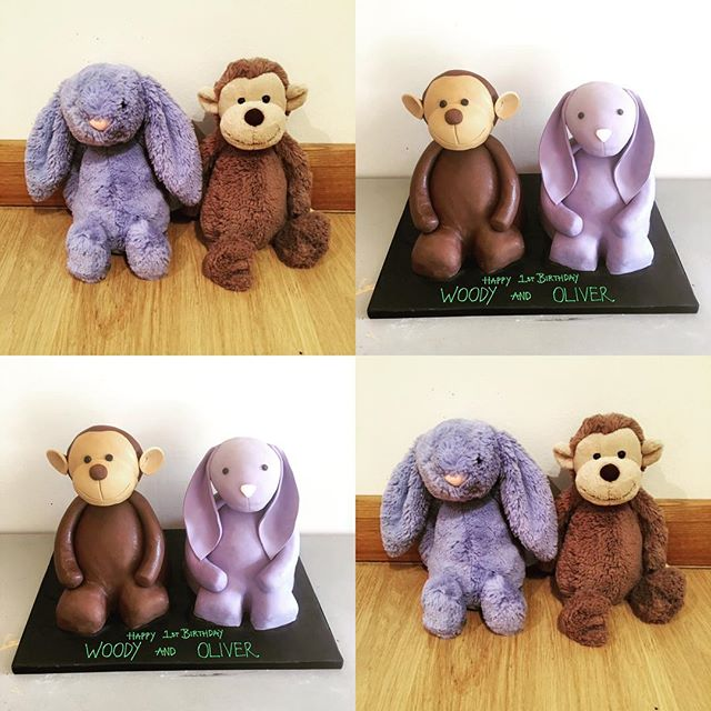 Loved replicating these special teddys for a 1st birthday cake this weekend 💜🐰🐵 #bespokecake #bun