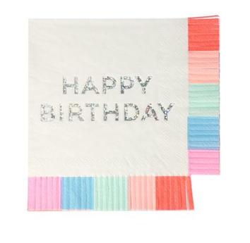 Happy Birthday Fringed Napkins