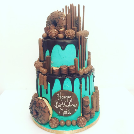 Teal Two Tier Drip Cake