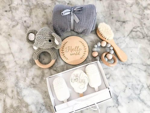 Grey baby gift box set with matching cake pops
