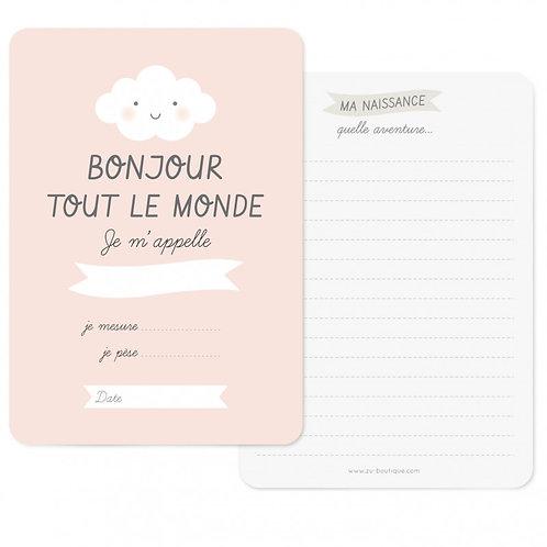 """Carte de naissance """"Bonjour"""" Pink"""