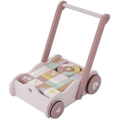 Le chariot à blocs rose en bois