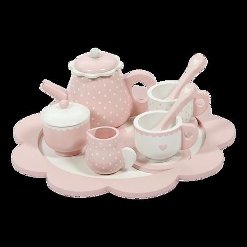 Service à thé rose en bois