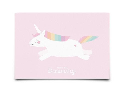 "Carte ""Licorne - Never Stop Dreaming"""