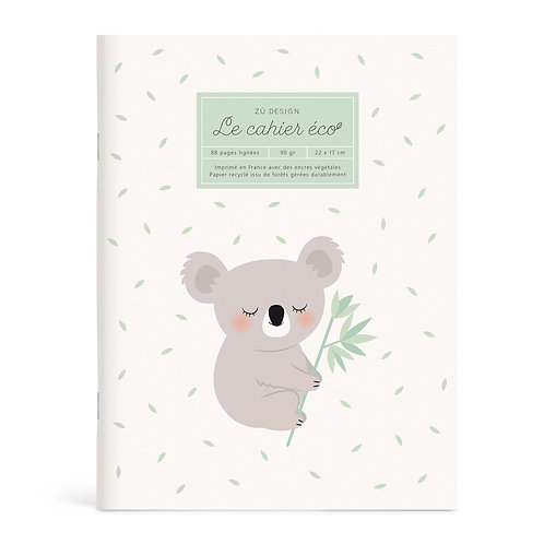 "Cahier ou Notebook Eco ""Koala"""