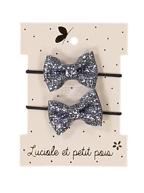 Élastiques mini papillon – Glitter gris