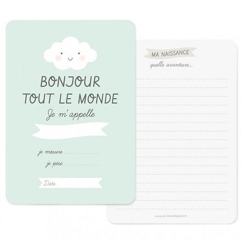 """Carte de naissance """"Bonjour"""" Mint"""