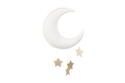 Mobile Lune avec étoiles dorées