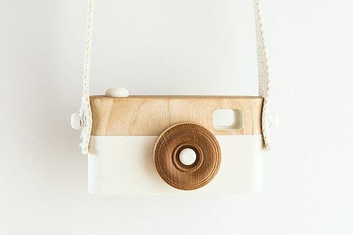 L'appareil photo vintage en bois - Blanc