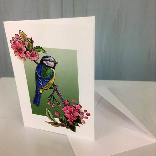 Greetings Card-Bird & Blossoms