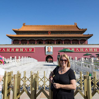At the entrance to the Forbidden City in Beijing