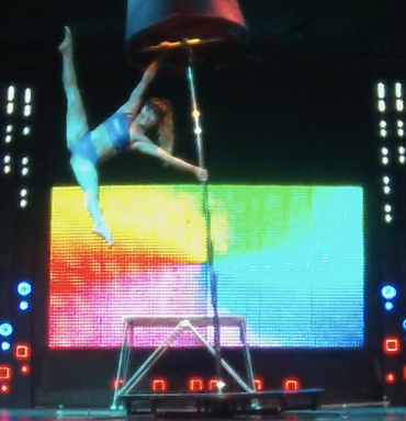 pole dance show act by professional circus artist Rika