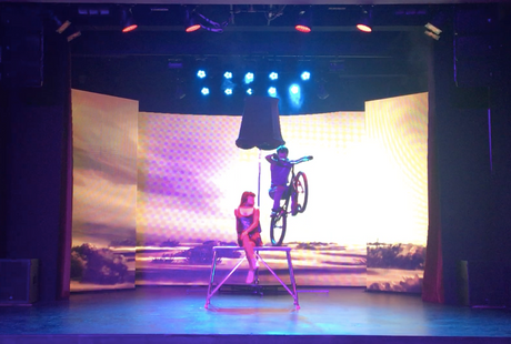 the bike trial show act performance by professional circus artists Serghei & Rika