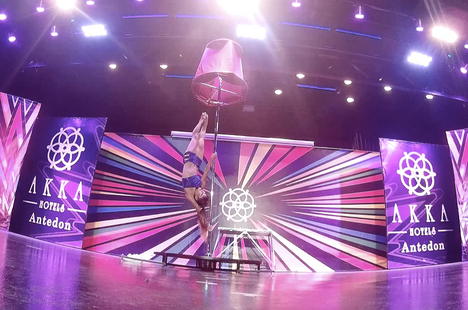 pole dansing show act by the profesisonal circus artist Rika