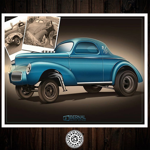 10 X 14 Limited,Signed and Numbered Willys Gasser