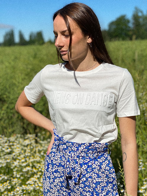 "T-Shirt blanc ""Viens on danse"""