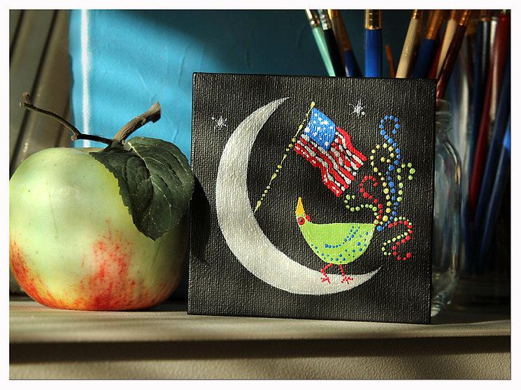 "Acrylic Painting 4x4"" Bird American Flag Moon"
