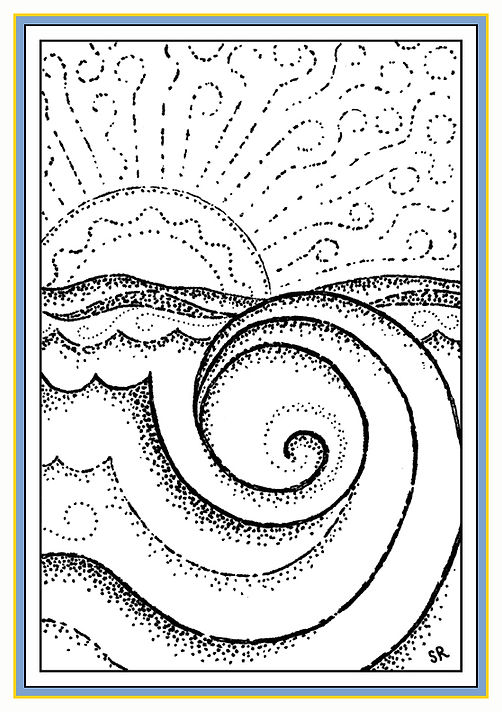 Ink Art - Ocean Wave and Sunrise